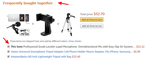 Upselling Technique #4: Amazon upsells frequently bought together items