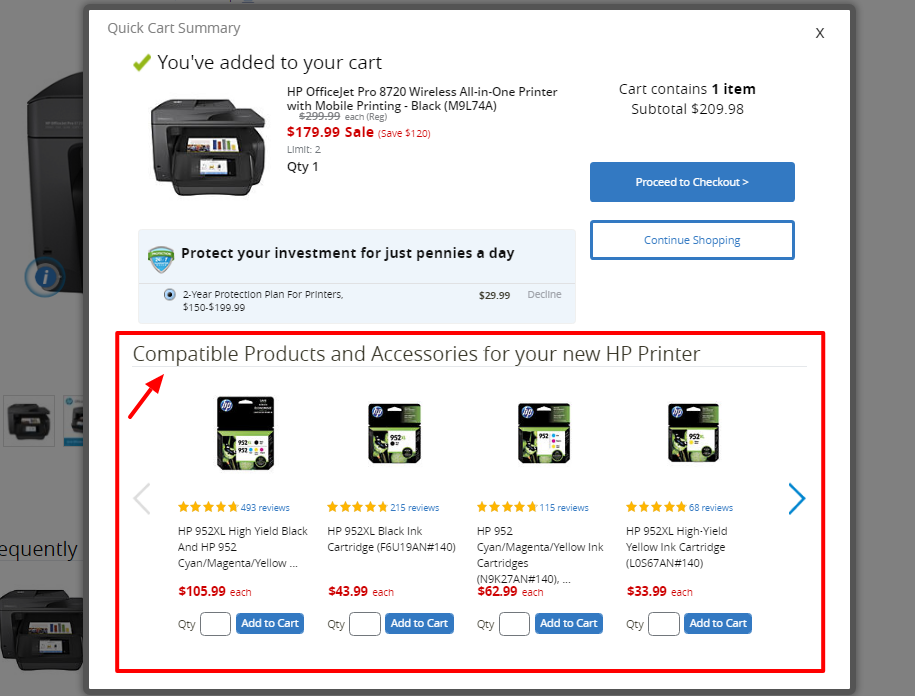 Replacement Items shown on the pop-up just before the cart page