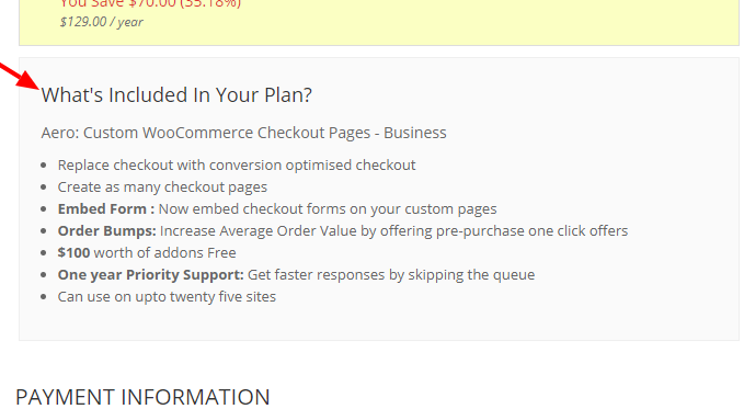woocommerce checkout template with benefit bullets
