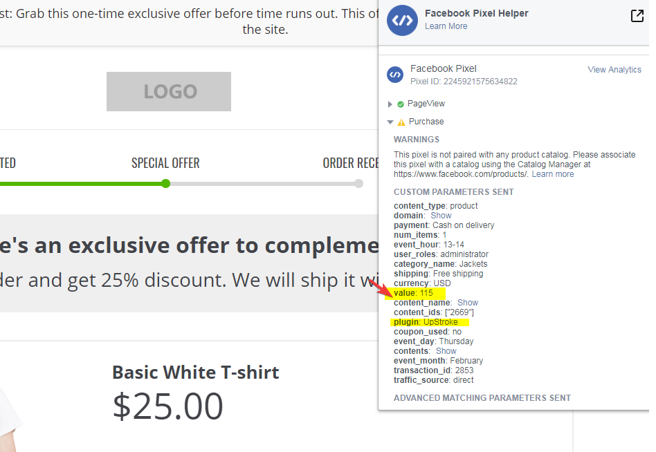 facebook conversion tracking on upsell page