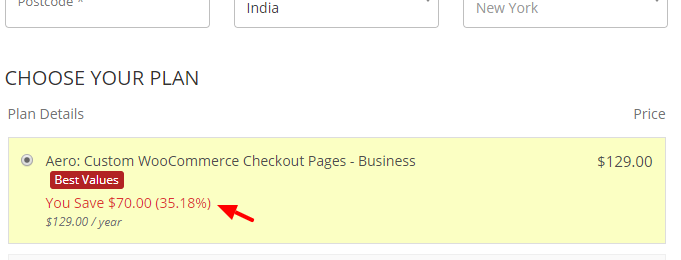 woocommerce checkout template savings
