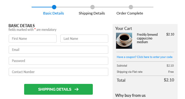 Image of a Basic Details form in an online shopping cart