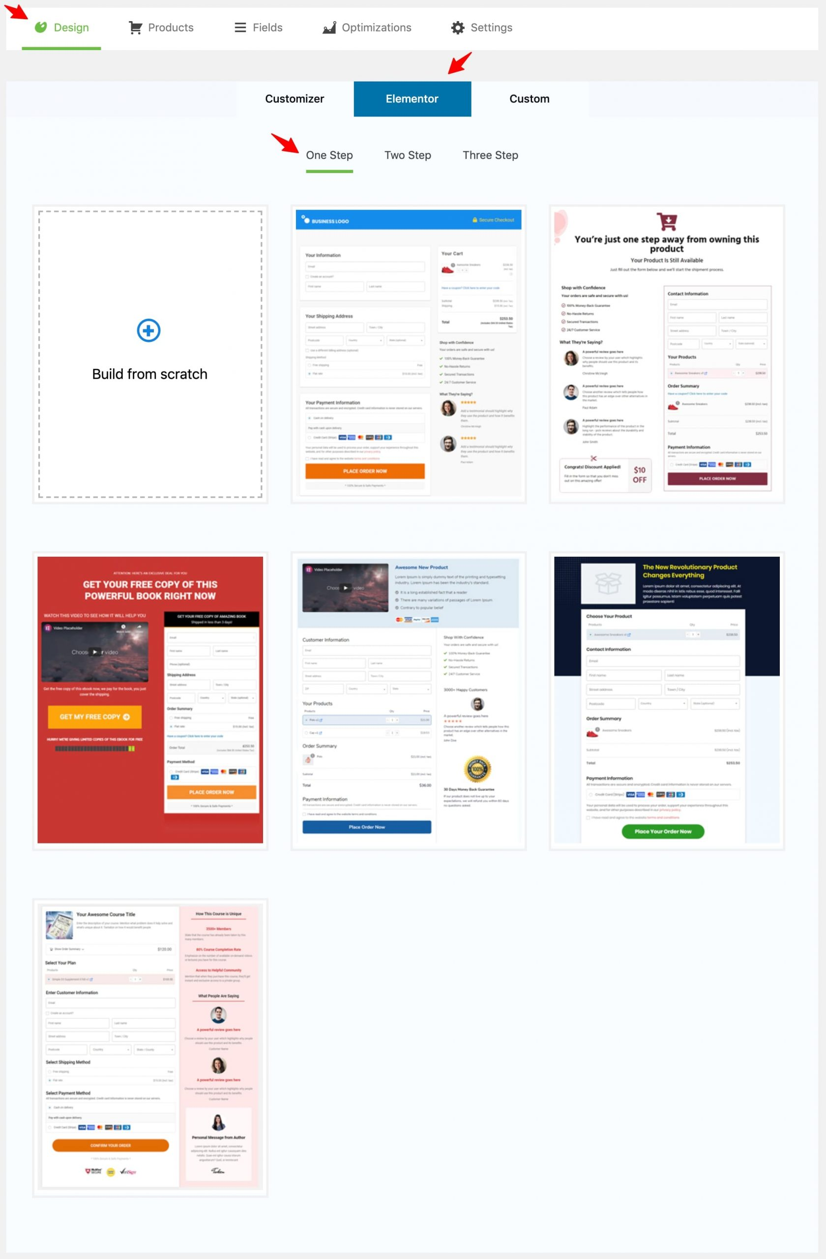 WooFunnels Design section while creating a two-step one page checkout