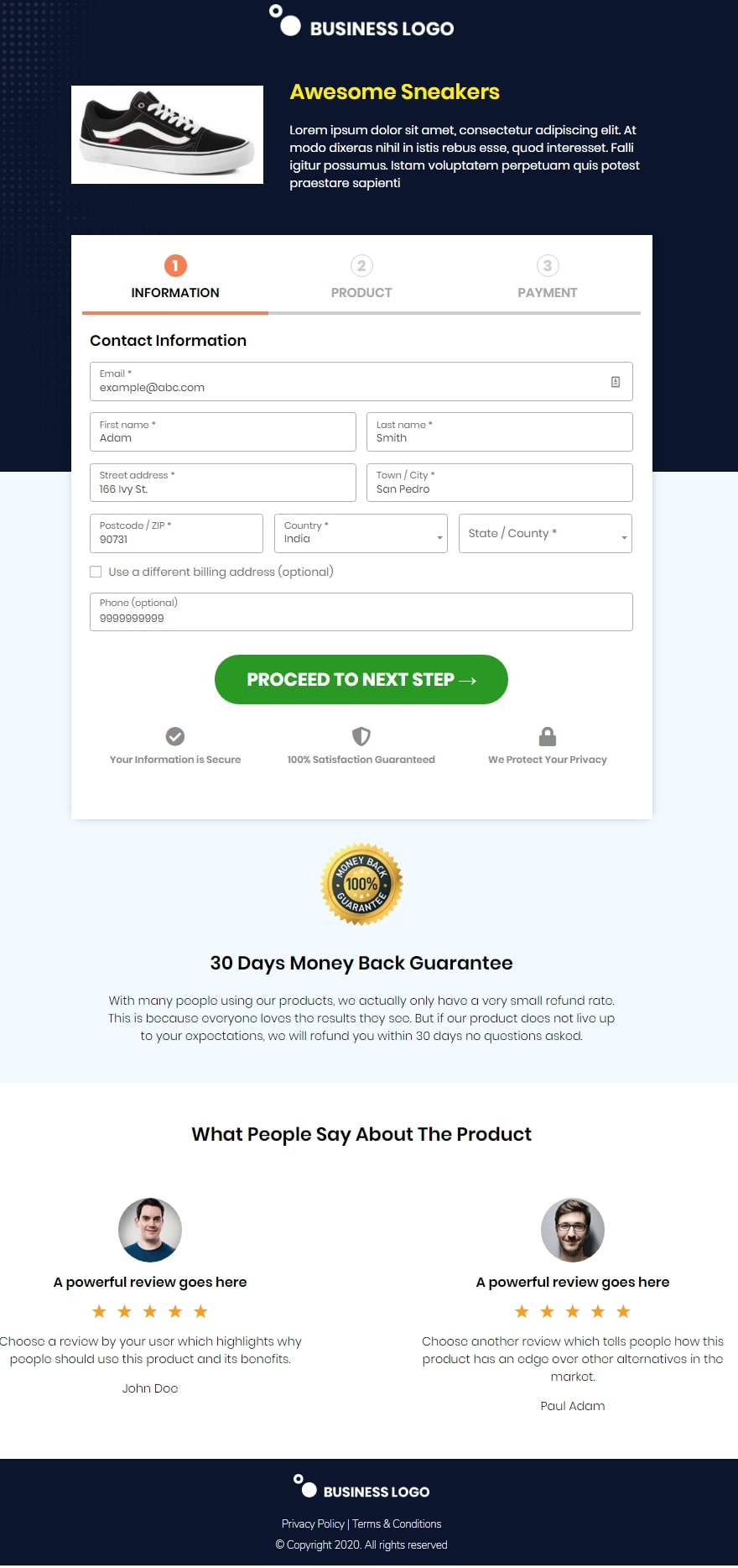 woocommerce one page Aero checkout template - Razor