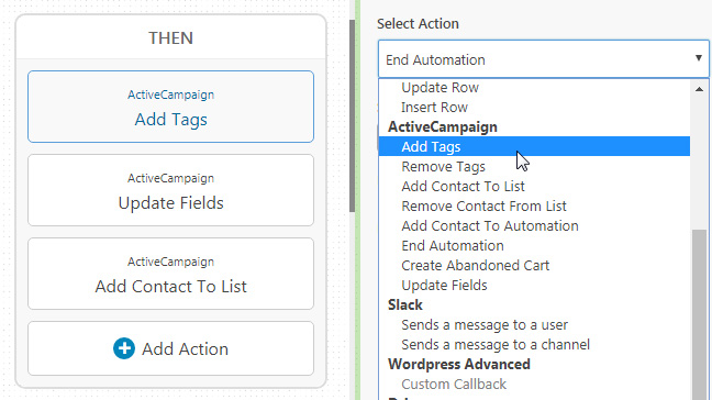 A screenshot of the add tags step in an automated sequence
