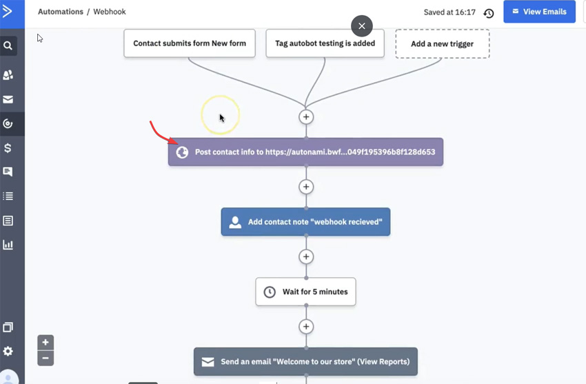 Automations/Webhooks in ActiveCampaign