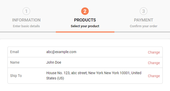 Image of an address form for checkout