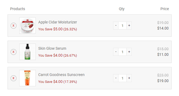Graphic of different beauty products on sale in an online shopping cart
