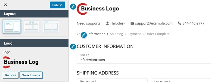 Update logo and tagline on your shopify checkout page