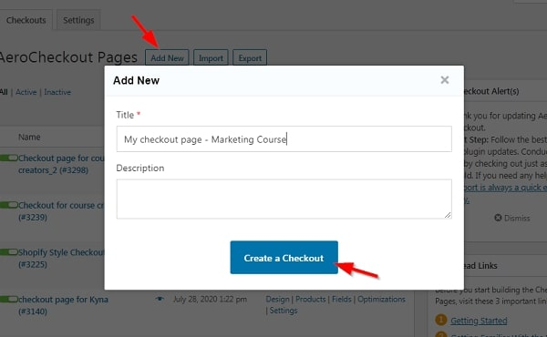 sales-page-elementor-create-new-checkout