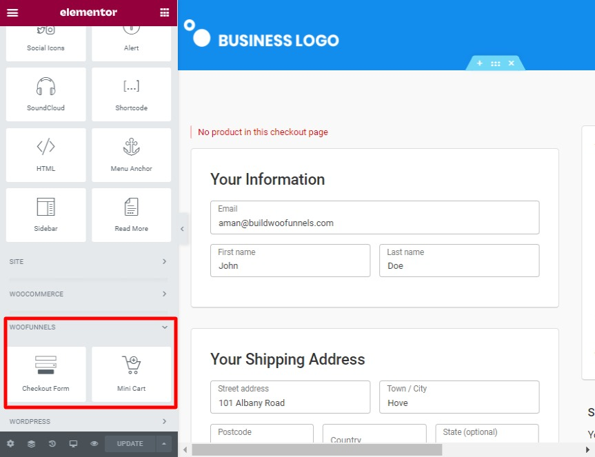 Elementor widgets for checkout page