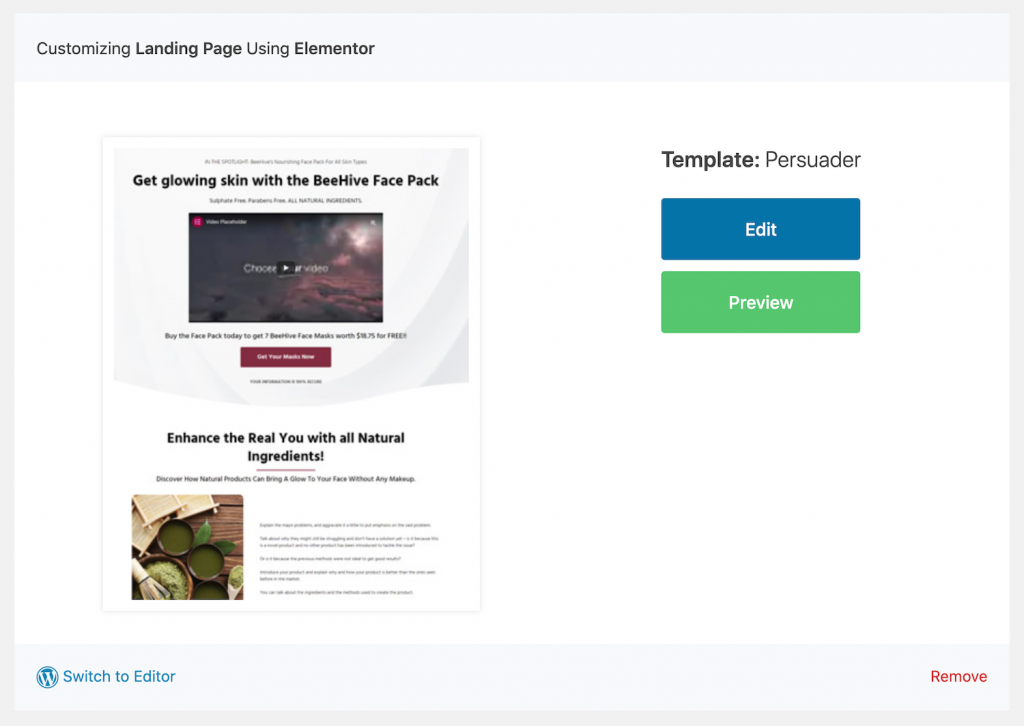 Edit the sales funnel in Elementor