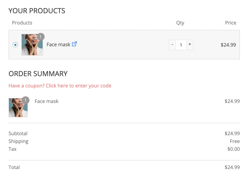 Mini cart on the checkout page helps to skip cart in WooCommerce