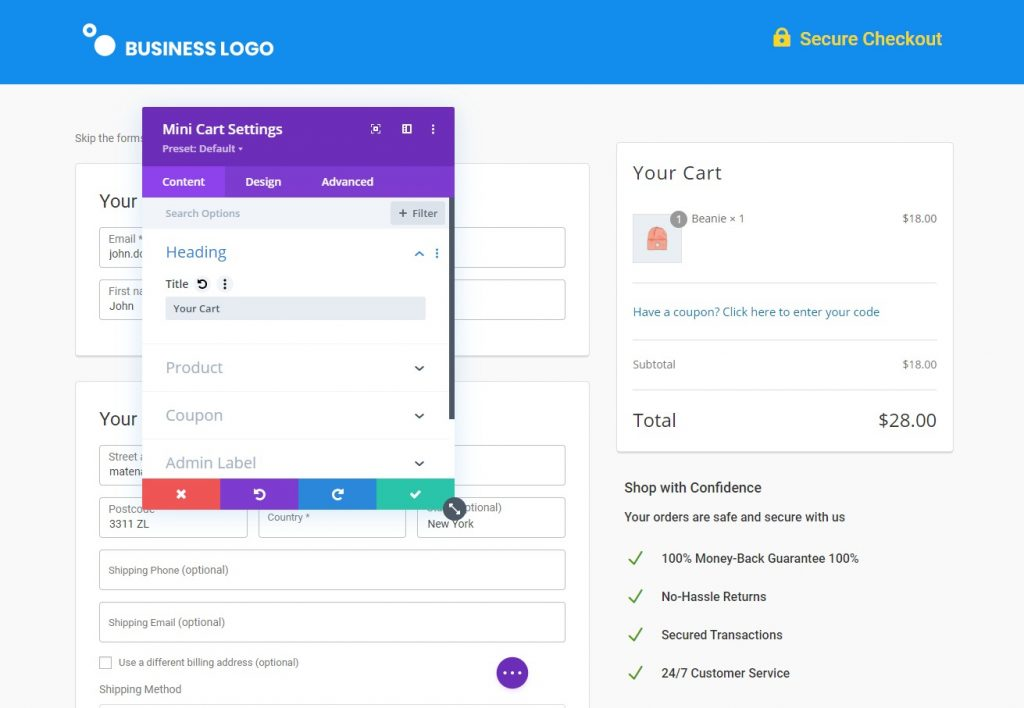 Customize the checkout page as needed