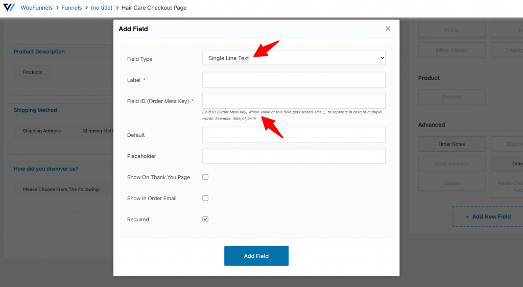 Add new field in WooFunnels checkout field editor