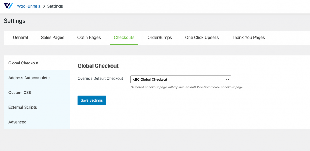 global settings of Checkout Pages