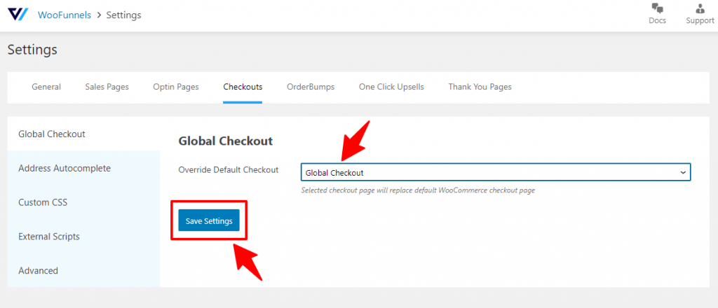 Select the global checkout page