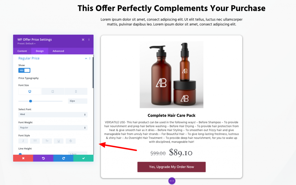 Persuader Divi template for Upsell offers