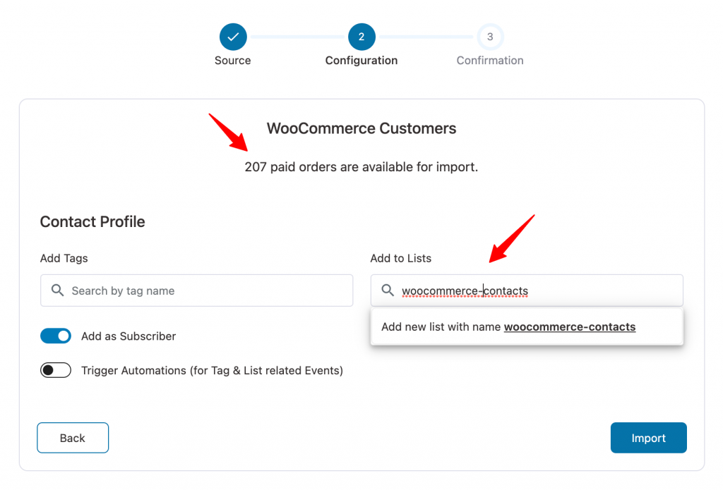 Configuration of Importing contacts from WooCommerce in Autonami