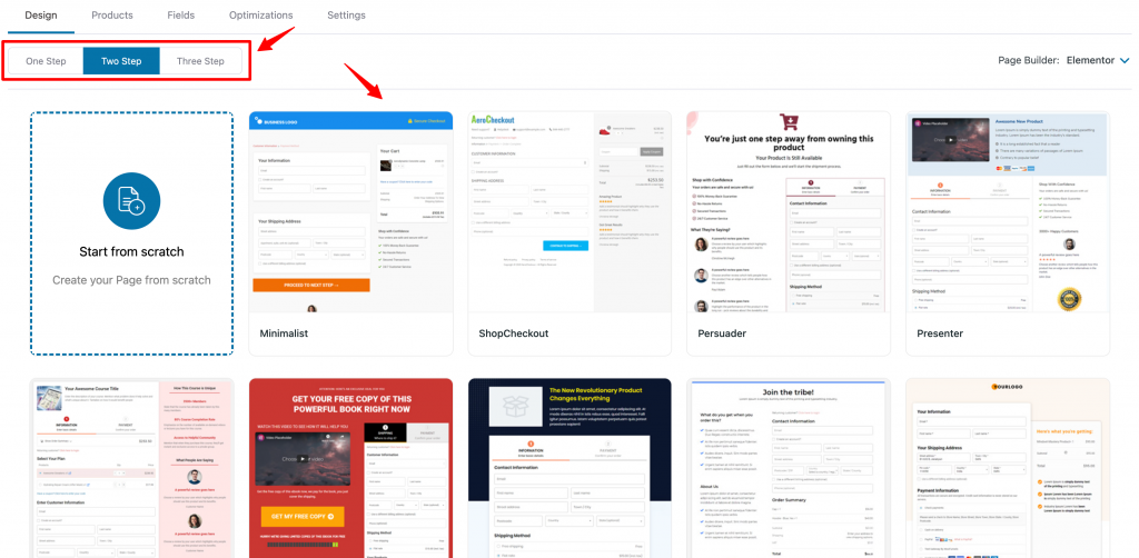 Checkout page template