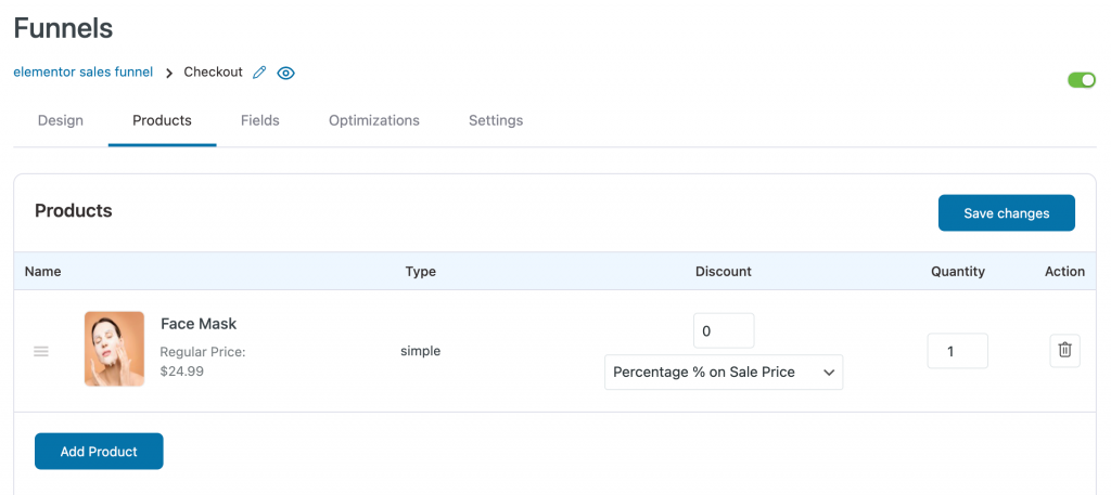 Product added to your checkout page on elementor sales funnel