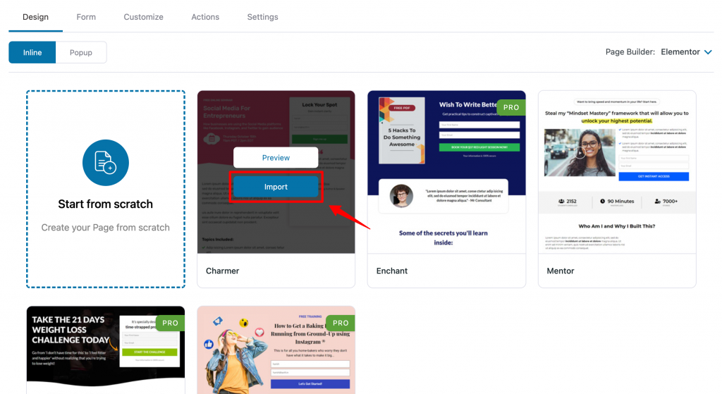 Opt in page template import