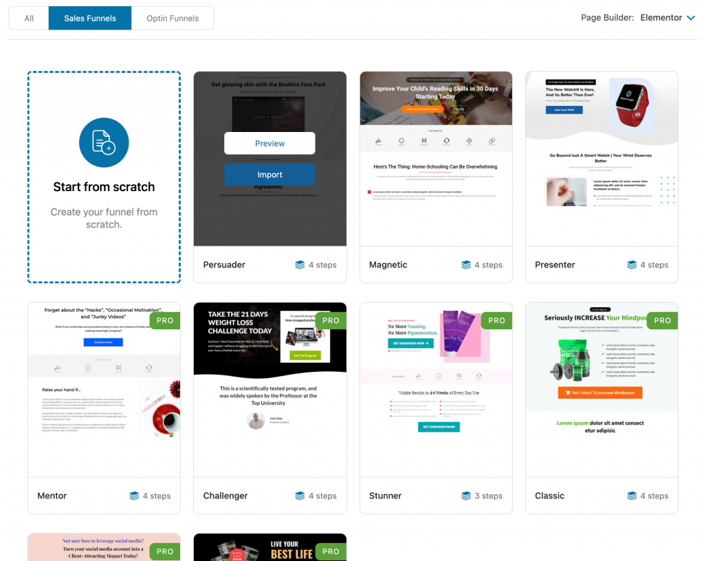 Import an Elementor sales funnel template