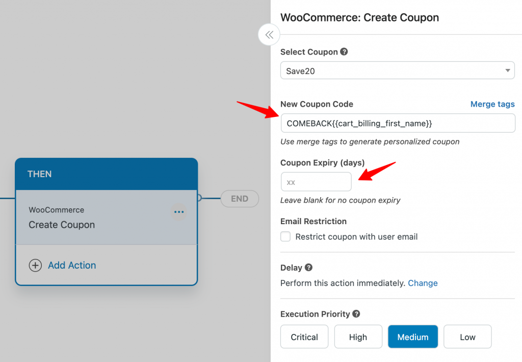 Creating coupon for users who have abandoned their carts