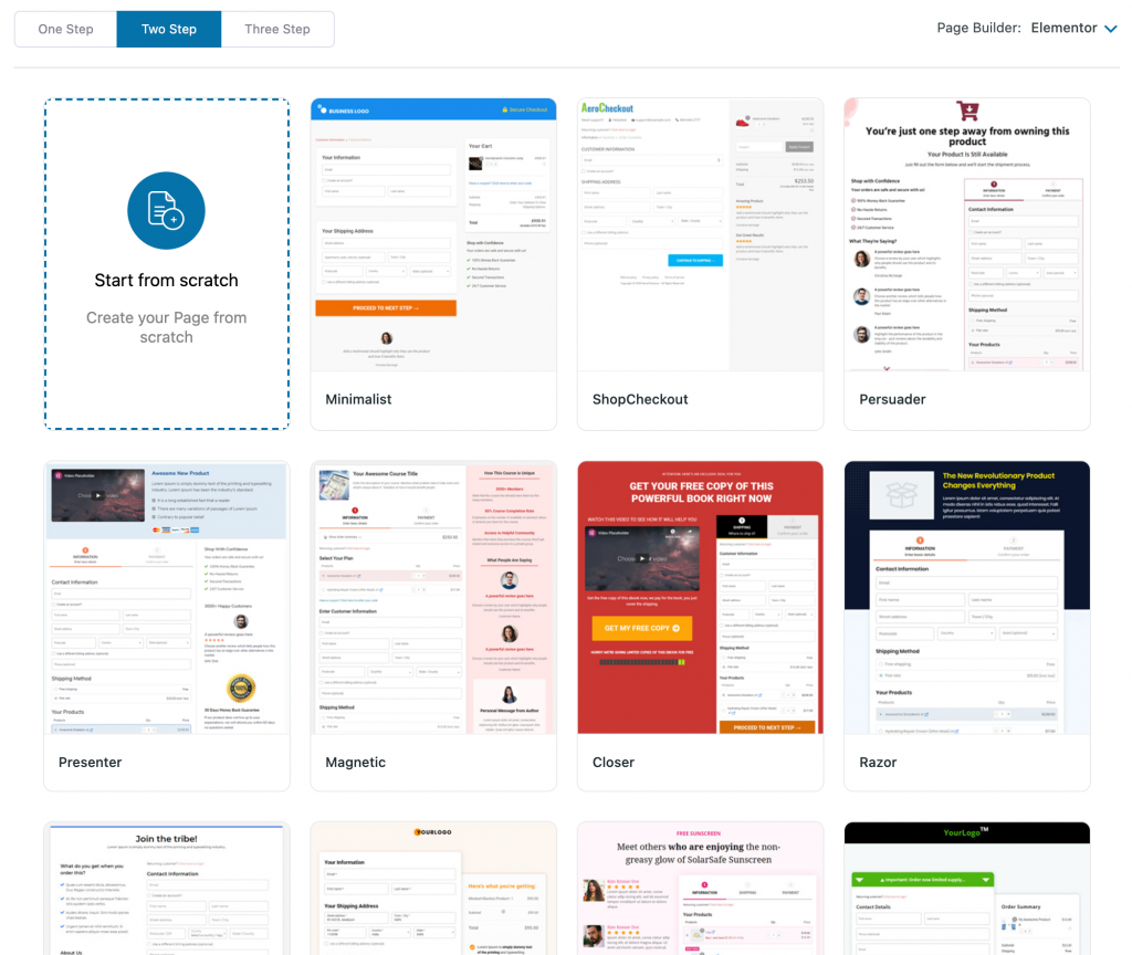 checkout page templates in WooFunnels