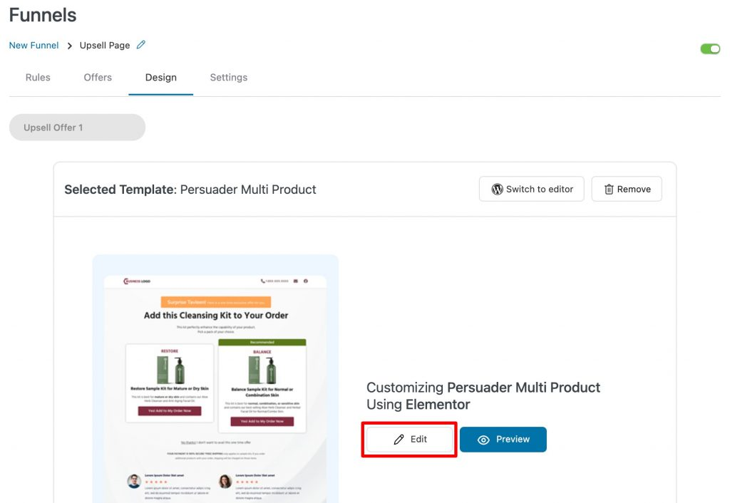 Edit multiproduct upsell template in Elementor