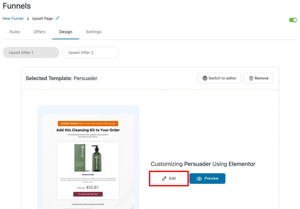 Edit upsell page template in Elementor