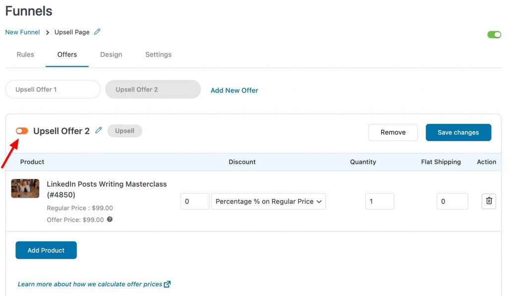 WooCommerce Upsell Offer Live Toggle