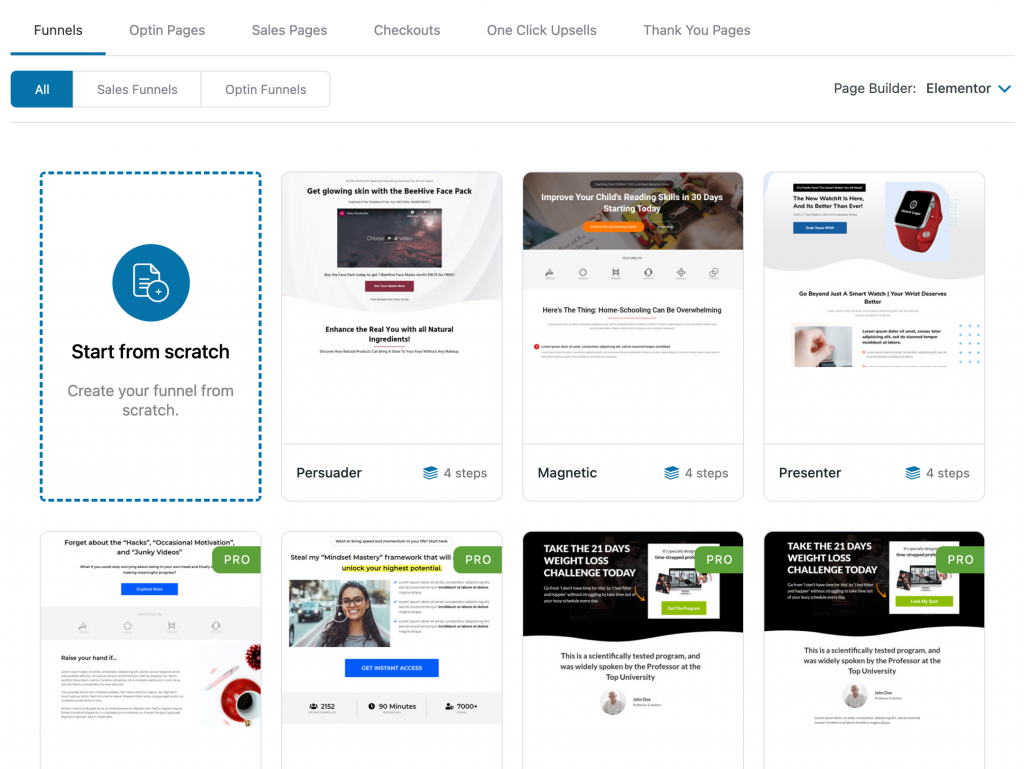 Pick the funnel types, page builder and template of your choice