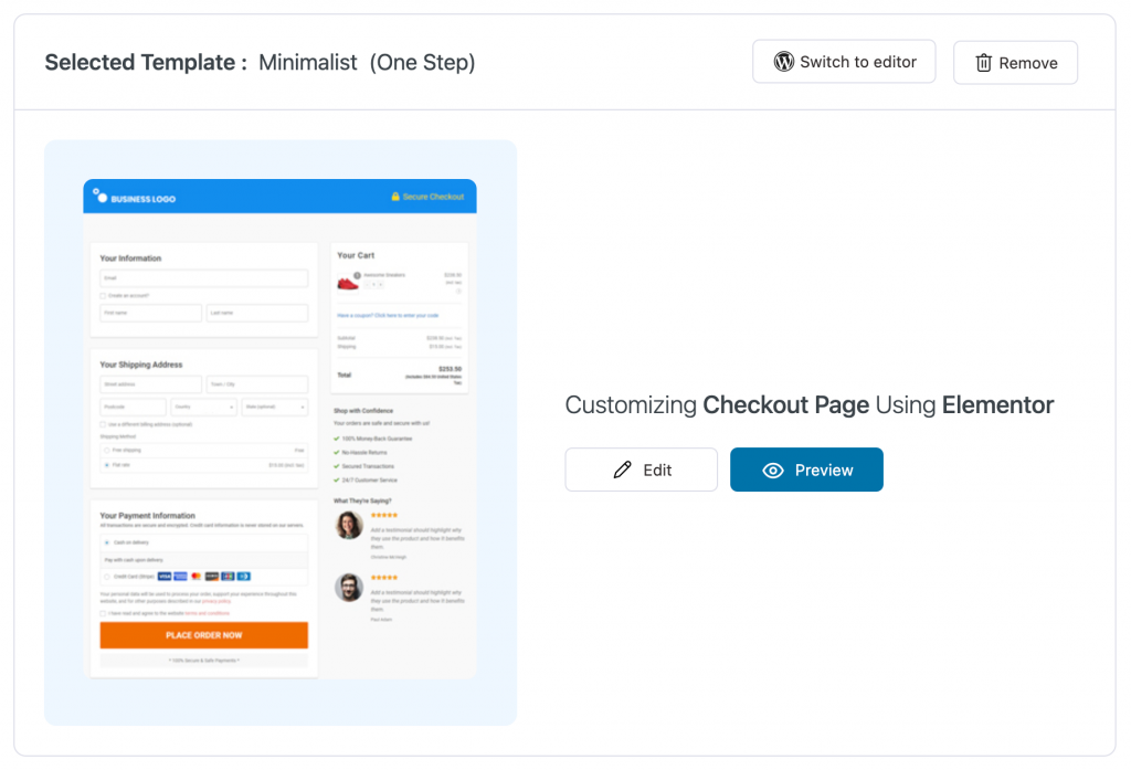 Edit the checkout page template