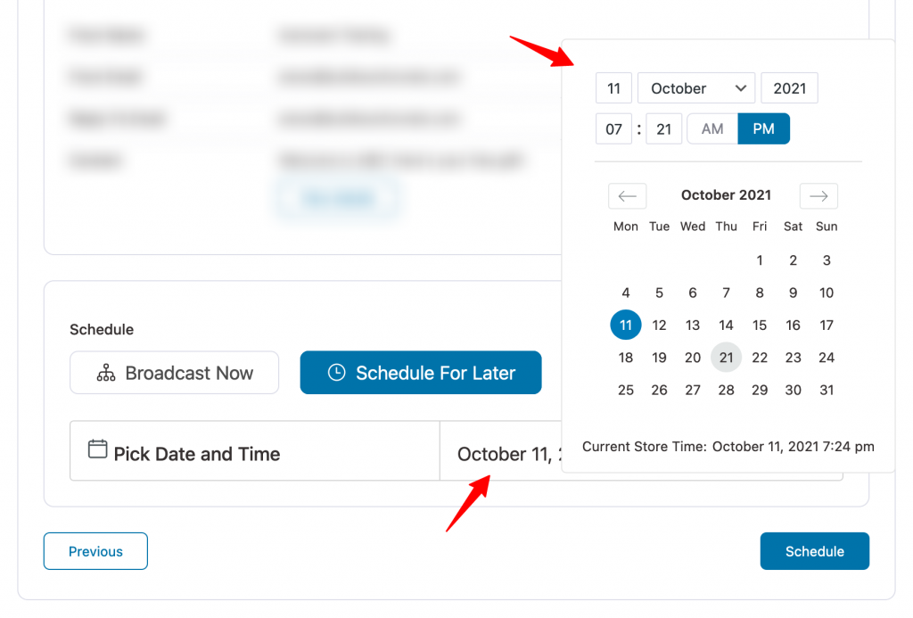 Set a specific date and time to schedule your broadcast in Autonami