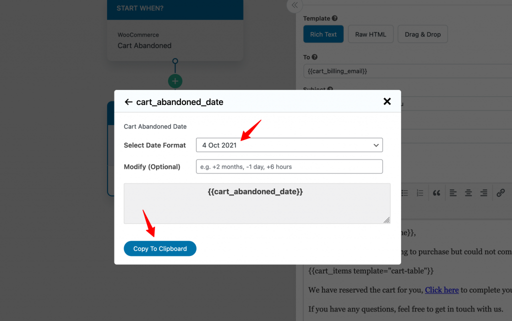 select Copy To Clipboard