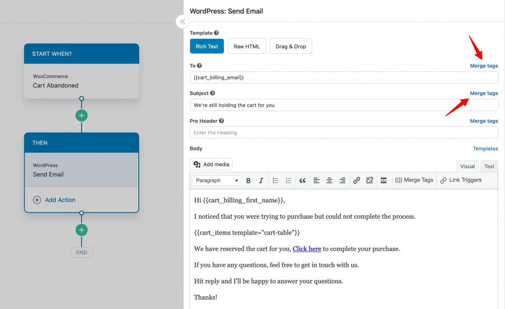 Craft the Email Using Personalization Merge Tags